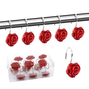 BEAVO Shower Curtain Hooks, Home Decorative Rustproof Shower Curtain Hooks Resin Rose Flower Shower Hooks Rings for Bathroom Shower Rods Curtains,Set of 12 Hooks (Red)
