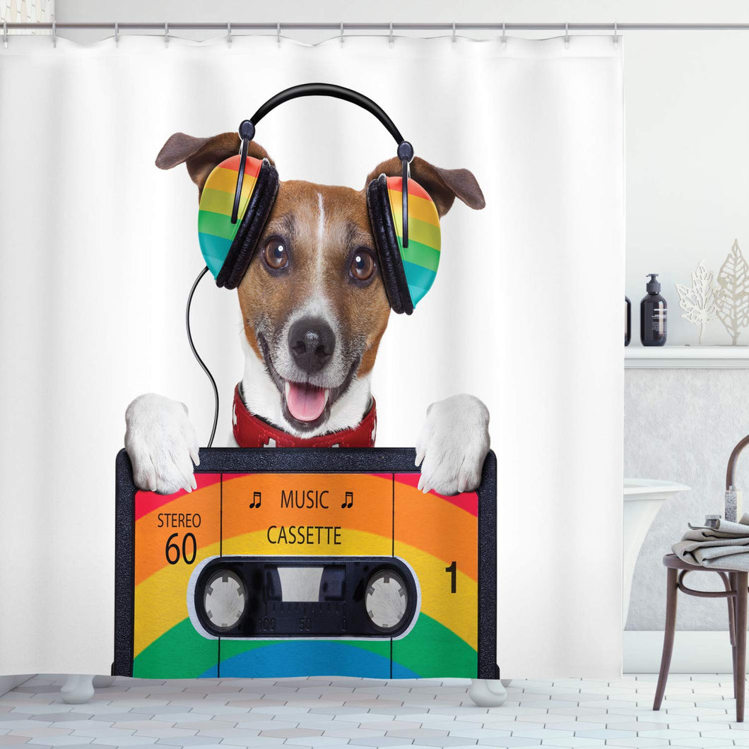 Ambesonne Popstar Party Shower Curtain, Dog Listening to Music from an Old Cassette of The 80's Colorful Headphones, Fabric Bathroom Decor Set with Hooks, 75 inches Long, White Orange