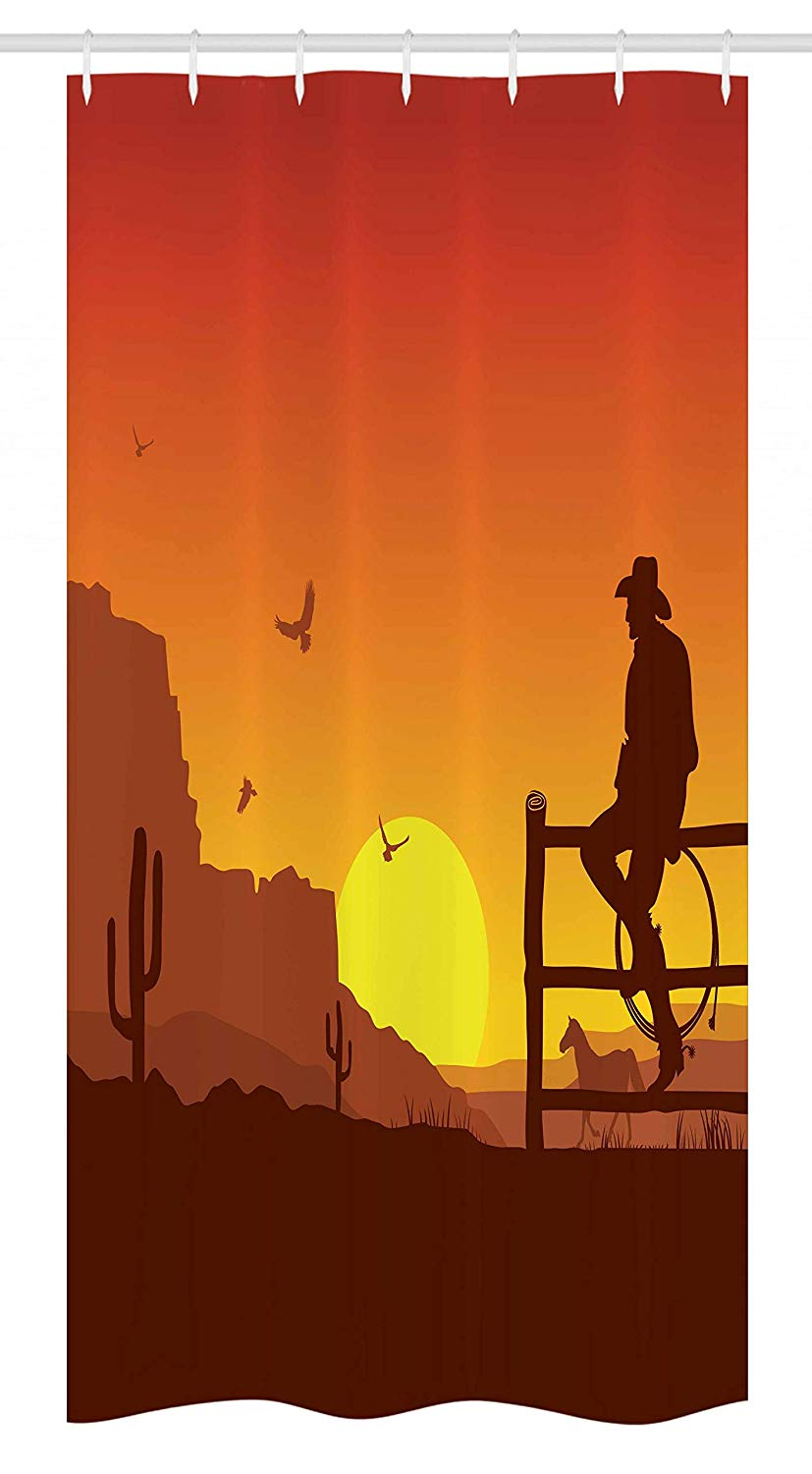 Ambesonne Western Stall Shower Curtain, Silhouette of Cowboy in Wild West Sunset Scene American Culture Image Print, Fabric Bathroom Decor Set with Hooks, 36