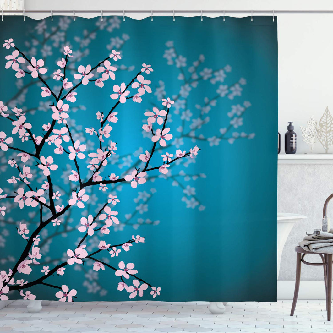 Ambesonne Leaves and Plants Decorations Collection, Ombre Spring Sakura Flowers Blossom in Garden Park, Polyester Fabric Bathroom Shower Curtain Set with Hooks, Teal Pink Black