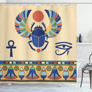 "Ambesonne Egyptian Shower Curtain, Antique Historical Culture of Scarab Eye with Ornaments Print, Cloth Fabric Bathroom Decor Set with Hooks, 84"" Extra Long, Cream Navy"