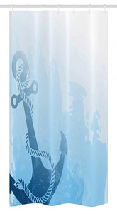 "Ambesonne Nautical Stall Shower Curtain, Monochrome Anchor Illustration Deep Down in The Sea Bottom Be Strong and Stable, Fabric Bathroom Decor Set with Hooks, 36"" X 72"", Light Blue"