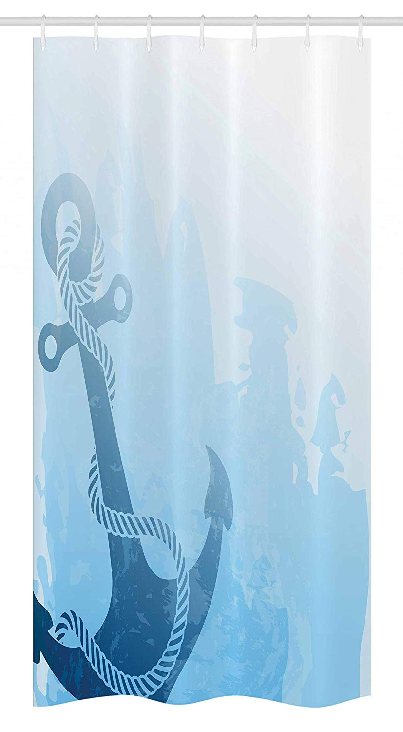 Ambesonne Nautical Stall Shower Curtain, Monochrome Anchor Illustration Deep Down in The Sea Bottom Be Strong and Stable, Fabric Bathroom Decor Set with Hooks, 36
