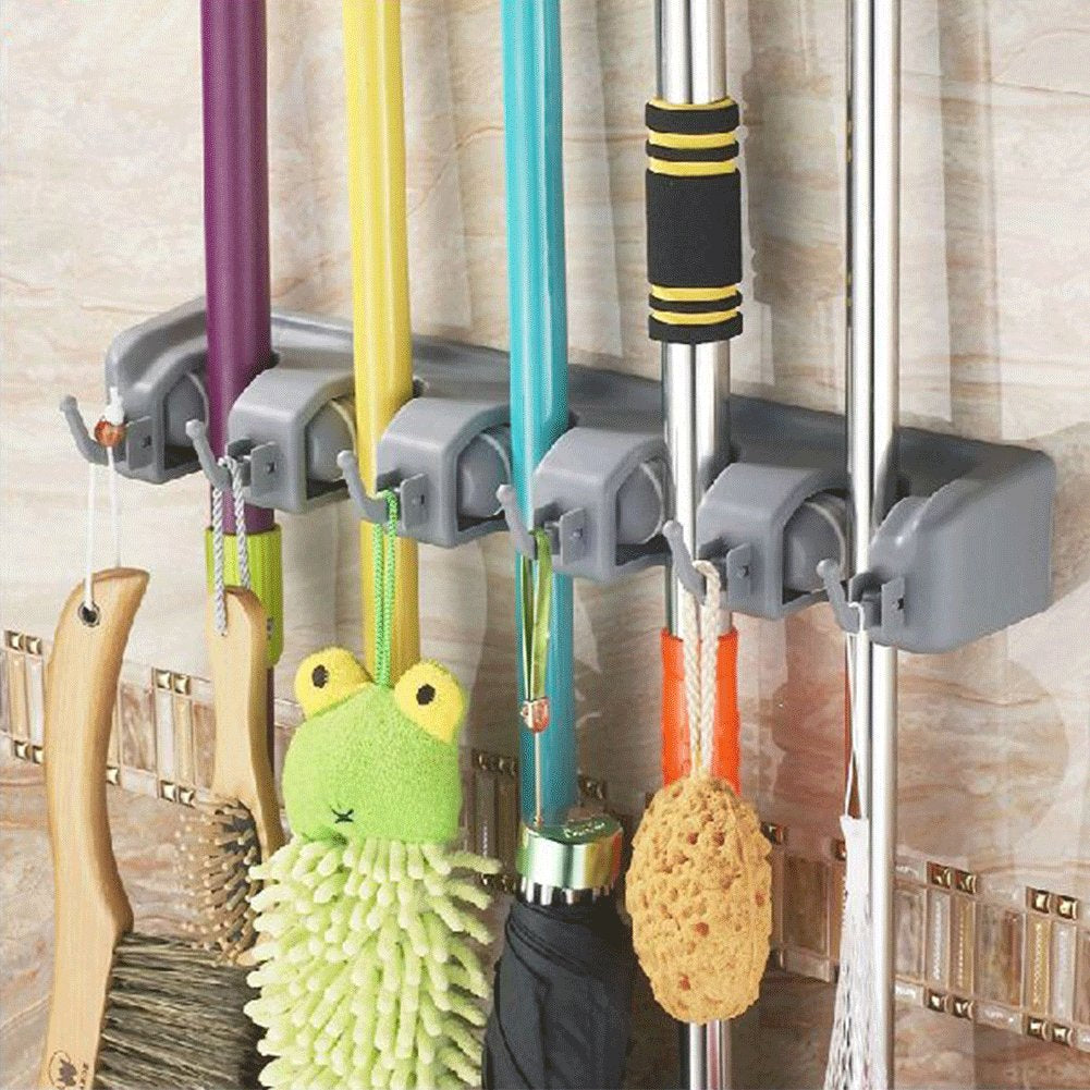 Biowow Mop Broom Holder Rack Organizer Wall Mount with 5 Ball Slots and 6 Hooks