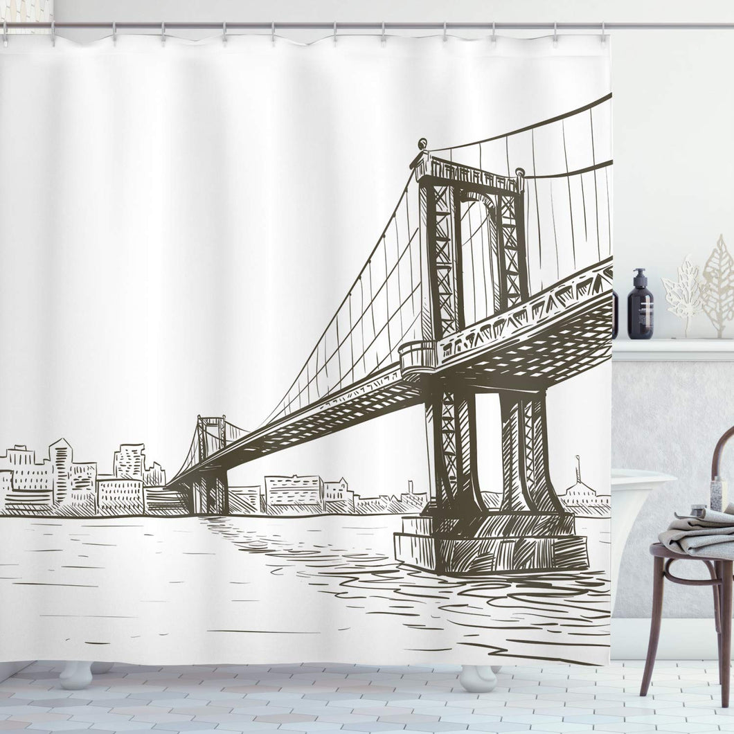 Ambesonne New York Shower Curtain, Digital Drawn Brooklyn Bridge Unusual Graffiti Style Old Urban Cityscape Print, Cloth Fabric Bathroom Decor Set with Hooks, 75
