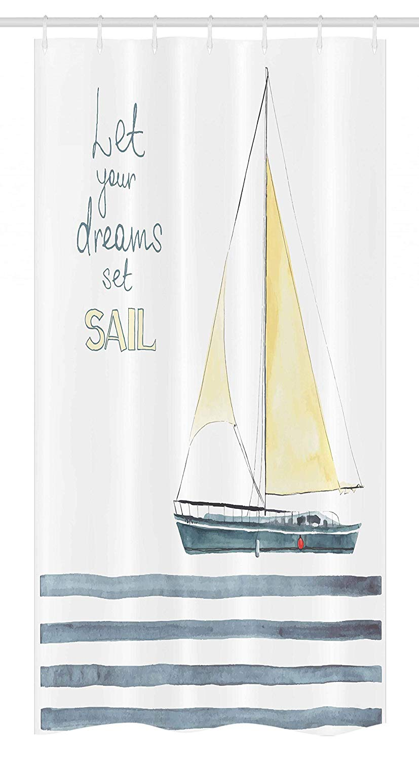 Ambesonne Nautical Stall Shower Curtain, Let Your Dreams Set Sail Words Stripes Yacht Interior Navigation Theme, Fabric Bathroom Decor Set with Hooks, 36