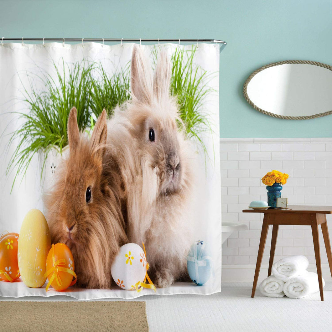 BROSHAN Funny Animal Decor Shower Curtain Fabric, Spring Festival Cute Rabbit Bunny Easter Eggs Bath Curtain, Easter Ployester Waterproof Fabric Bathroom Decor Set with Hooks,72x 72