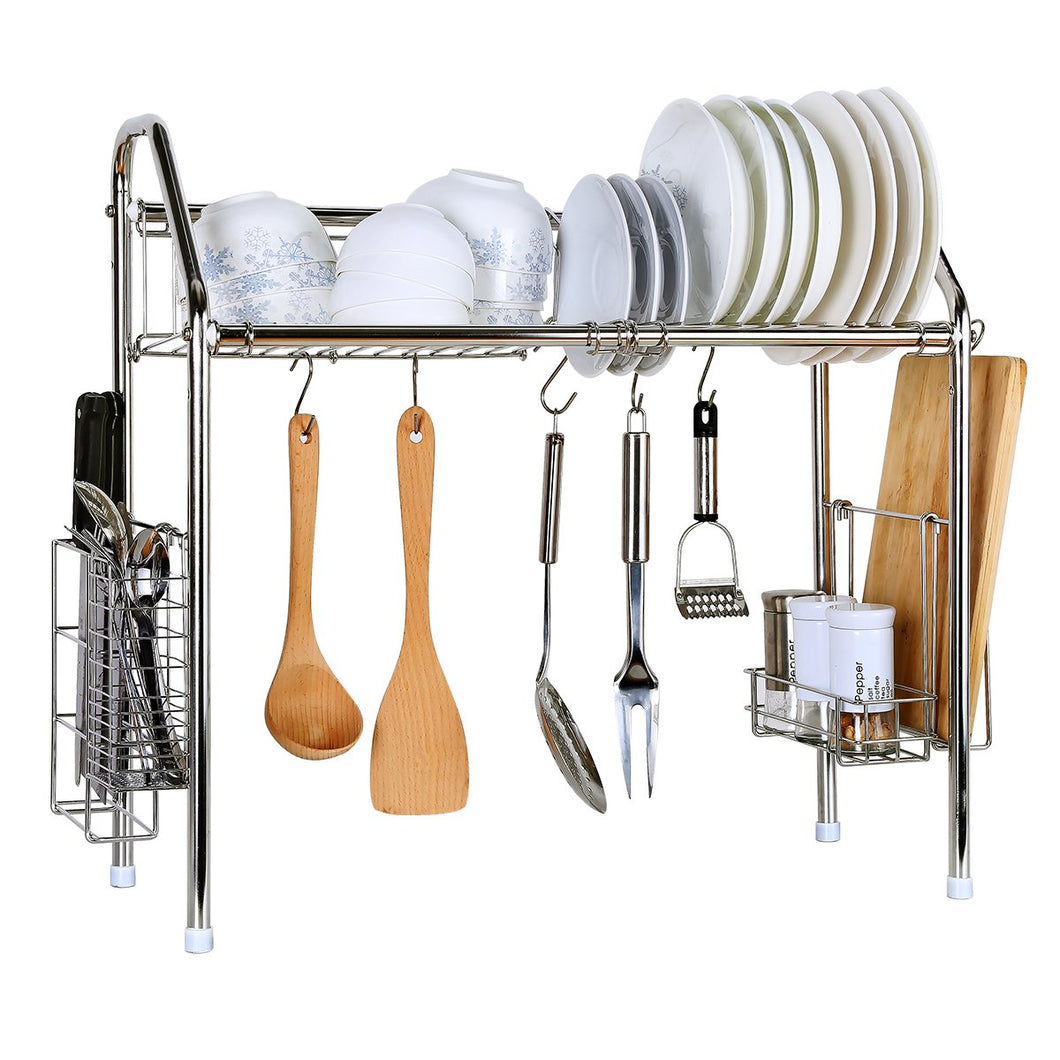 CreaTwo Single Tier Stainless Steel Dish Rack Adjustable Dish Drainer Over Sink Kitchen Storage Shelf for Single Groove Silver