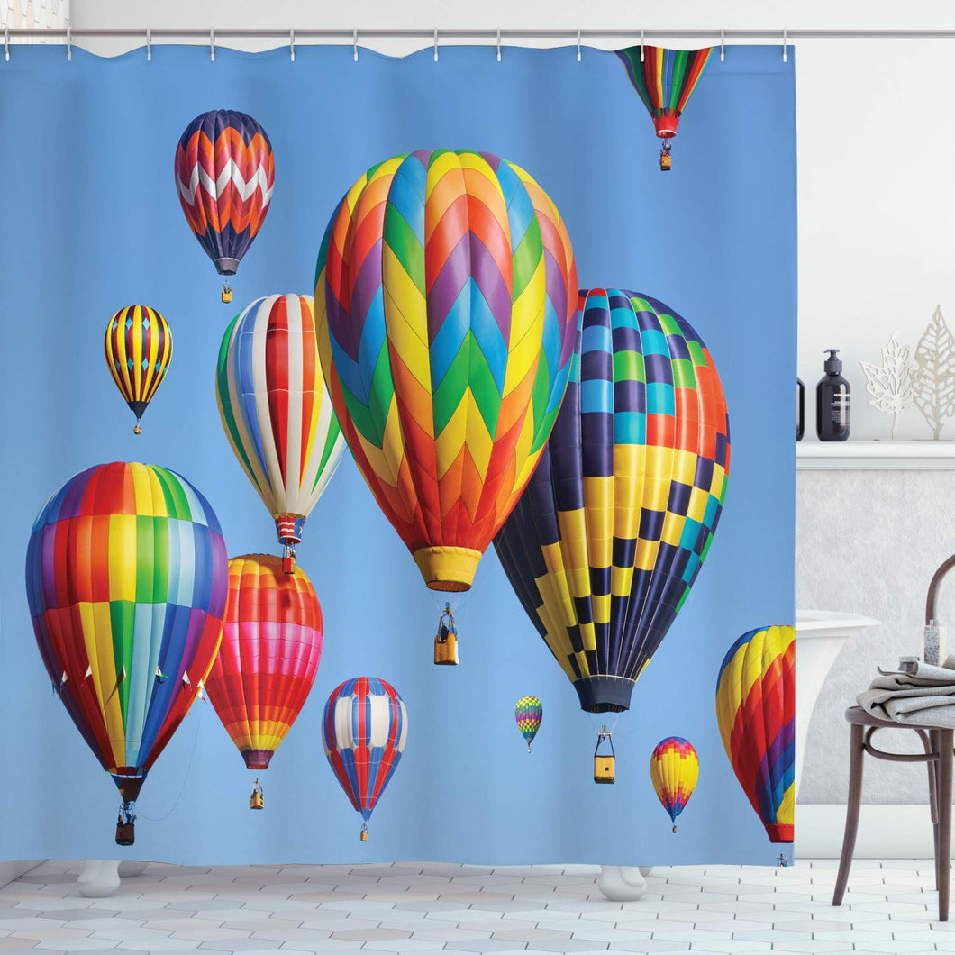 Ambesonne Balloon Shower Curtain, Colorful Air Balloons in The Sky Air Travel Aviation Themed Photograph Touristic, Cloth Fabric Bathroom Decor Set with Hooks, 70