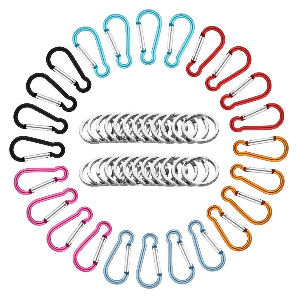 24 PCS 2.5/6CM Aluminum Carabiner Pack, LEYOSOV Lightweight Spring-loaded Keychain Clips, Durable Hooks & Key Rings (PACK/24PCS) for Home, Rv, Camping, Fishing, Hiking, Traveling