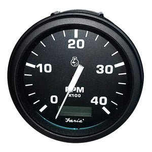 "Faria 4"" Heavy-Duty Tachometer w-Hourmeter (4000 RPM) Diesel (Mech Takeoff  Var Ratio Alt) - Black *Bulk Case of 12*"