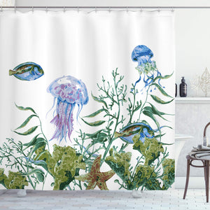 Ambesonne Ocean Shower Curtain, Watercolor Style Effect Sea Life Pattern with Seaweed Jellyfish and Fish, Fabric Bathroom Decor Set with Hooks, 70 Inches, Jade Green