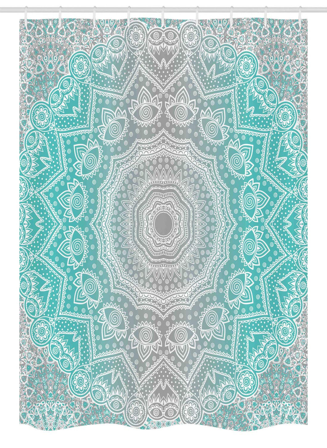 Ambesonne Grey and Turquoise Stall Shower Curtain, Primitive Essence and Universe Harmony Mandala Ombre Art, Fabric Bathroom Decor Set with Hooks, 54