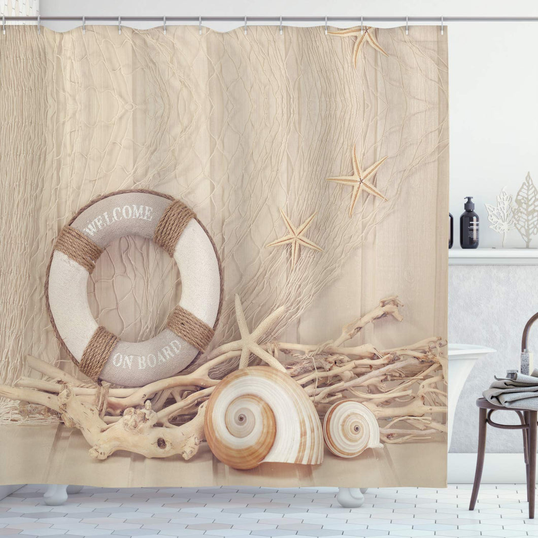 Ambesonne Coastal Decor Collection, Welcome on Board Buoy Wooden Sepia Fishnet Pattern, Polyester Fabric Bathroom Shower Curtain Set with Hooks, Tan Linen Ecru Beige