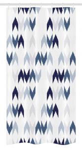 "Ambesonne Navy Stall Shower Curtain, Abstract Ikat Chevron with Hazy Zigzag Folk Traditional Image, Fabric Bathroom Decor Set with Hooks, 36"" X 72"", Blue Purple"