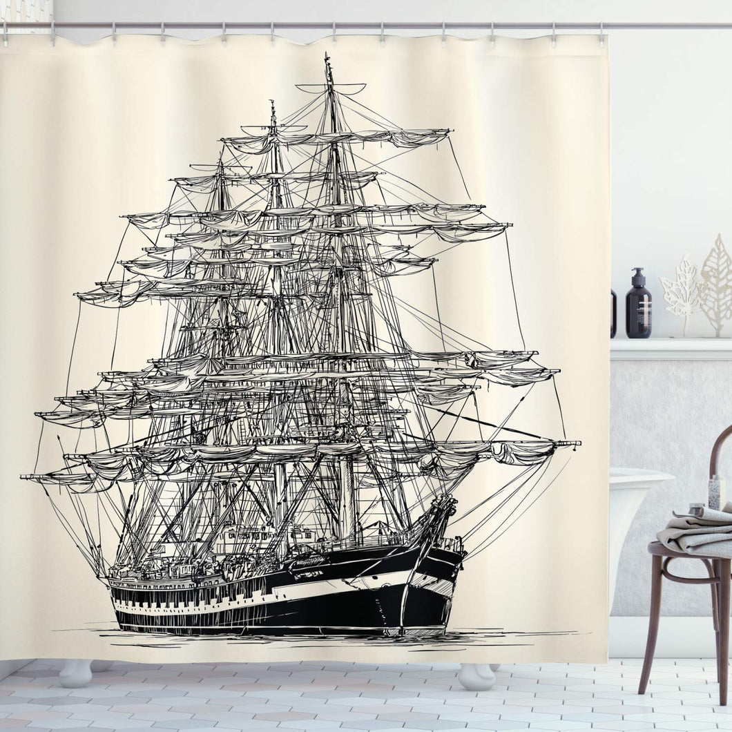 Ambesonne Pirate Ship Shower Curtain, Sailing Boat Detailed Illustration Nautical Maritime Theme Vintage Style Art, Cloth Fabric Bathroom Decor Set with Hooks, 70