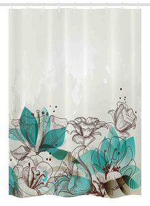 "Ambesonne Turquoise Stall Shower Curtain, Retro Floral Background with Hibiscus Silhouettes Dramatic Romantic Nature Art, Fabric Bathroom Decor Set with Hooks, 54"" X 78"", Beige Teal"