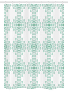 "Ambesonne Floral Stall Shower Curtain, Abstract Horizontal Lines Geometric Bold Thin Stripes Ocean Themed Illustration, Fabric Bathroom Decor Set with Hooks, 54"" X 78"", Seafoam White"