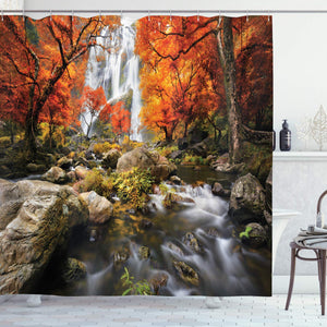 Ambesonne Forest Shower Curtain Trees Decor Scenic Thai Waterfall and River Park in the Autumn, Polyester Fabric Bathroom Set with Hooks