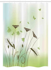 Ambesonne Butterfly Stall Shower Curtain, Silhouette of Dragonflies Bees Butterflies Flying All over the Flowers Spring Theme, Fabric Bathroom Decor Set with Hooks, 54 W x 78 L Inches, Green