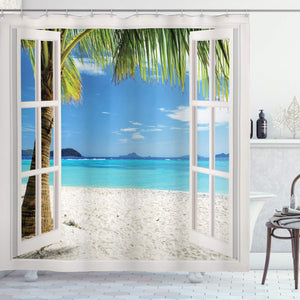 Ambesonne Ocean Decor Collection, Tropical Palm Trees on an Island Beach Through White Wooden Windows, Polyester Fabric Bathroom Shower Curtain Set with Hooks, Blue Green White Multicolored
