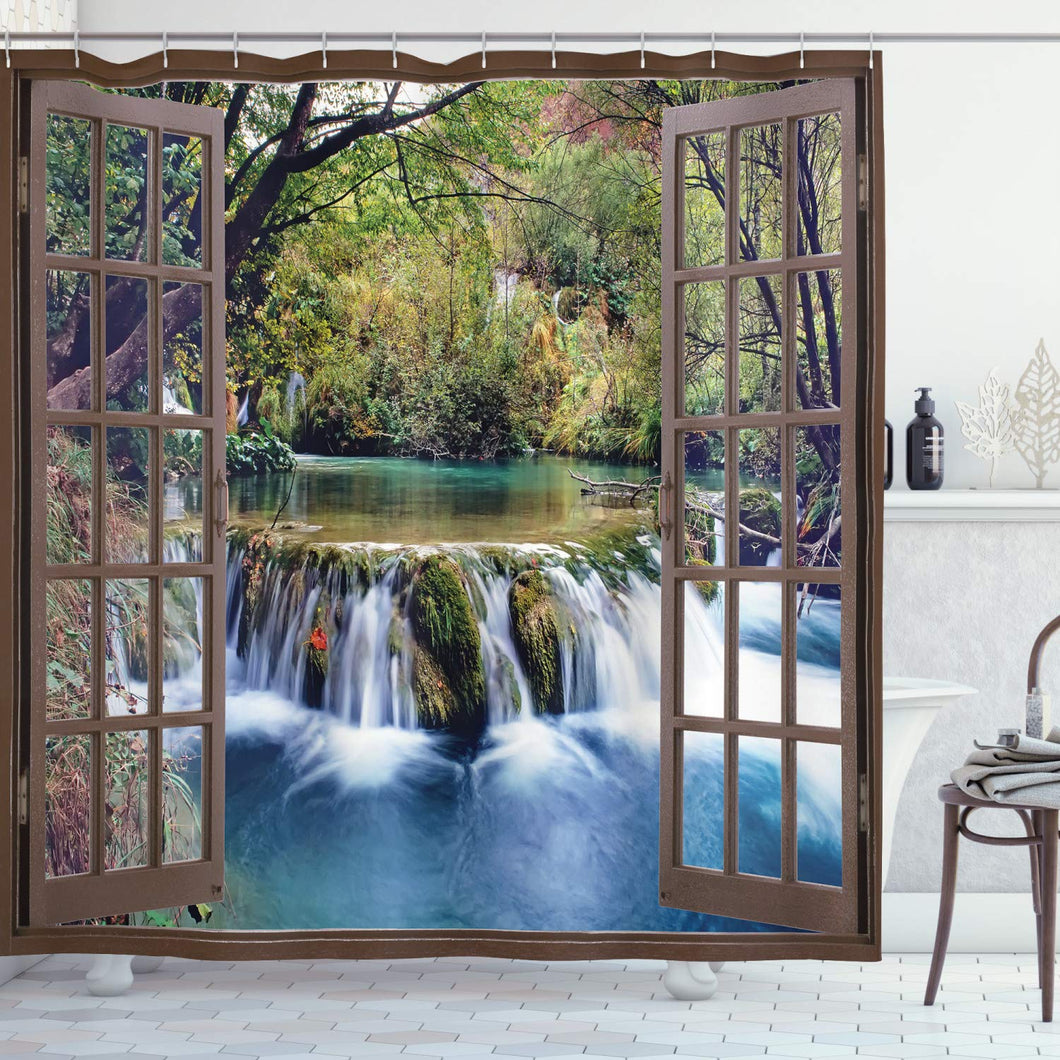 Ambesonne Waterfall Shower Curtain, Wide Waterfall Deep Down in The Forest Seen from a City Window Epic Surreal Print, Cloth Fabric Bathroom Decor Set with Hooks, 70
