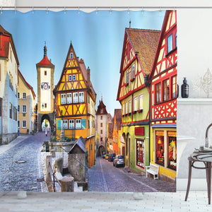 Ambesonne German Shower Curtain, Rothenburg ob der Tauber Bavaria Germany Famous Street with Colorful Classic Houses, Cloth Fabric Bathroom Decor Set with Hooks, 75 Inches Long, Yellow Blue