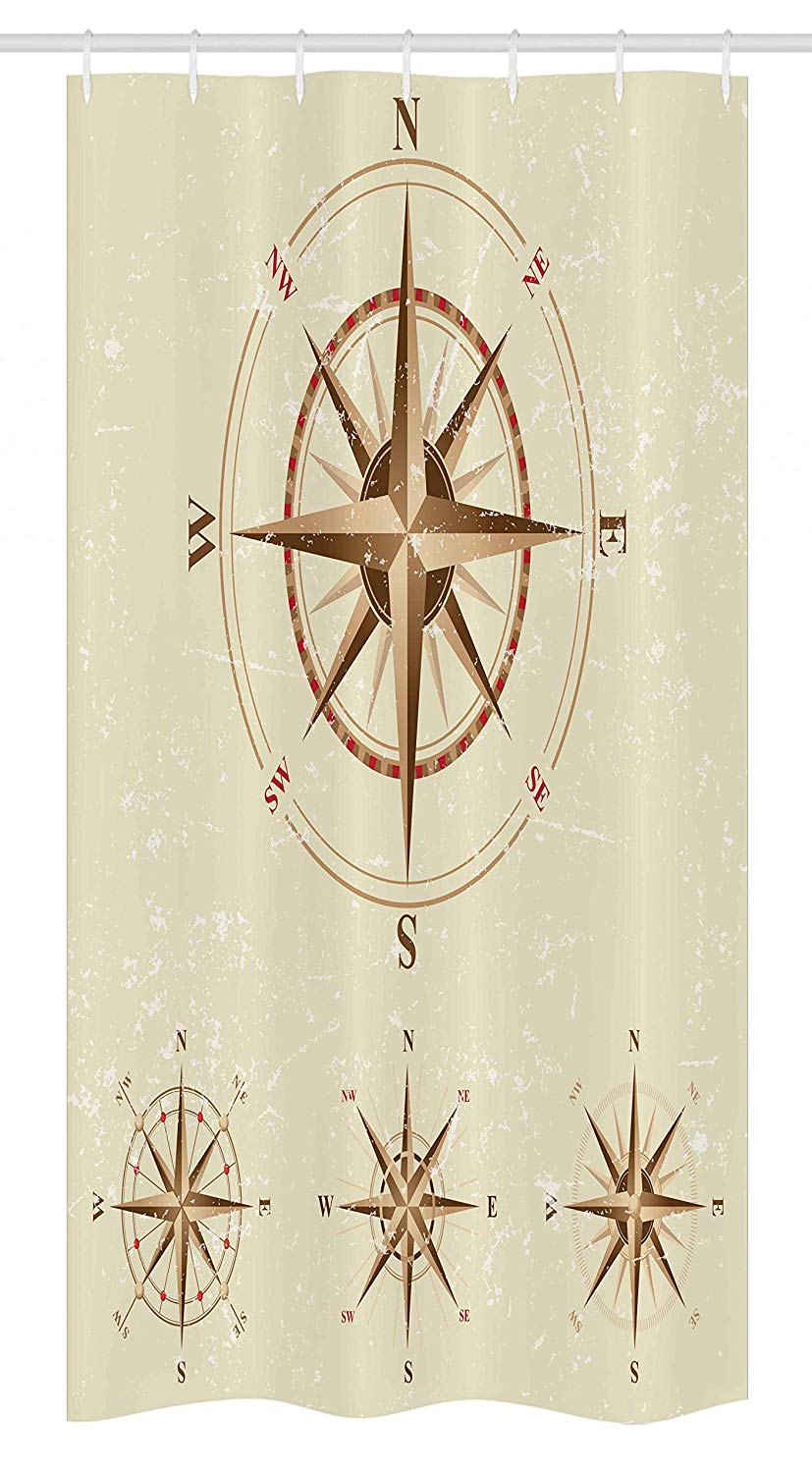 Ambesonne Compass Stall Shower Curtain, 4 Different Compasses in Retro Colors Discovery Equipment Where Nautical Marine, Fabric Bathroom Decor Set with Hooks, 36