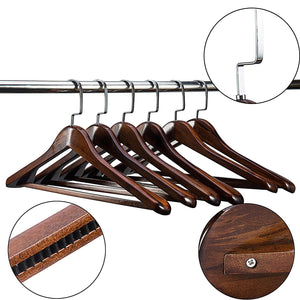 Coat Hangers 6-Pack for Coats and Pants Wooden clothes hanger Solid Wood Suit Hangers with Non Slip Bar Walnut Finish Wooden Coat Hangers clothes-rack (6, Antique)