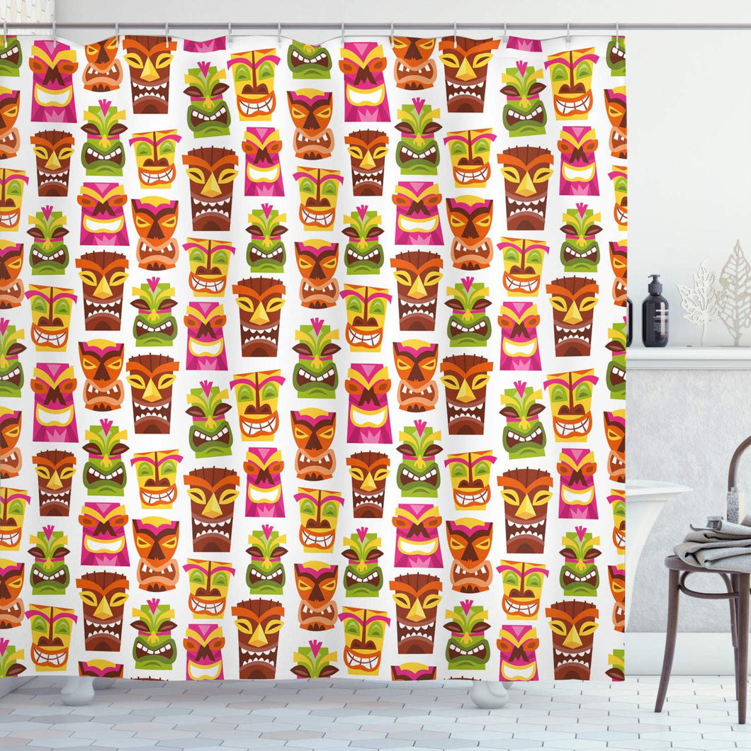 Ambesonne Tiki Bar Decor Shower Curtain, 60's Retro Inspired Cute Hawaiian Party Happy Tiki Statues Pattern Colorful, Fabric Bathroom Decor Set with Hooks, 70 Inches, White Brown