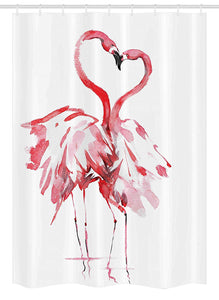 "Ambesonne Flamingo Stall Shower Curtain, Flamingo Couple Kissing Romance Passion Partners in Love Watercolor Effect, Fabric Bathroom Decor Set with Hooks, 54"" X 78"", Coral White"