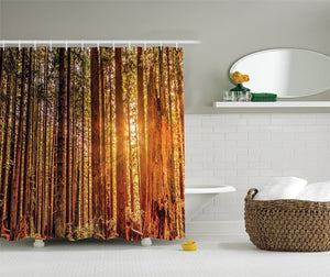 Ambesonne USA National Park Decor Collection, Tall Trees Redwoods Forestry and Sunshine Picture Print, Polyester Fabric Bathroom Shower Curtain Set with Hooks, Green Orange Brown