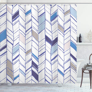 "Ambesonne Chevron Shower Curtain, Tribal Zigzag Lines Pattern in Various Shades Geometric Sketch, Cloth Fabric Bathroom Decor Set with Hooks, 75"" Long, Taupe White"