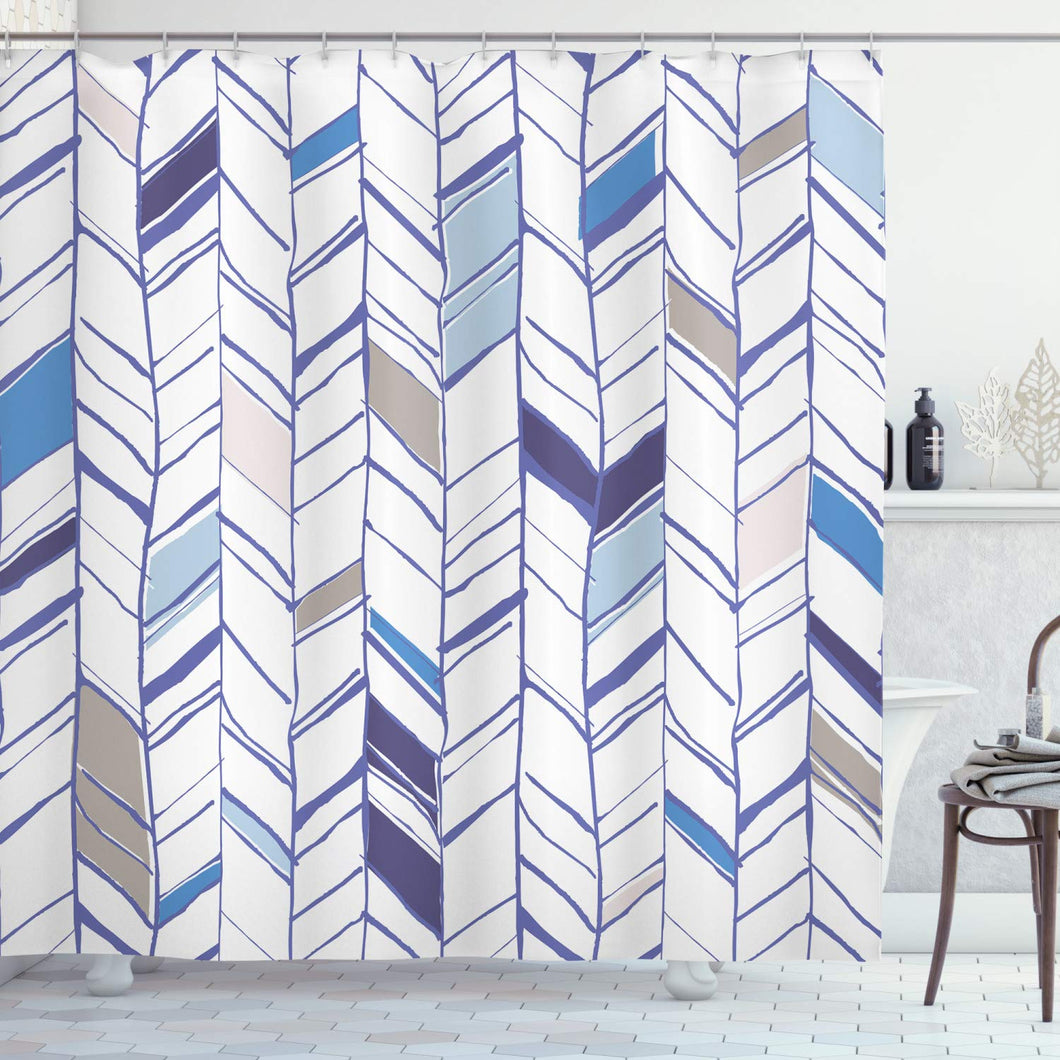 Ambesonne Chevron Shower Curtain, Tribal Zigzag Lines Pattern in Various Shades Geometric Sketch, Cloth Fabric Bathroom Decor Set with Hooks, 75