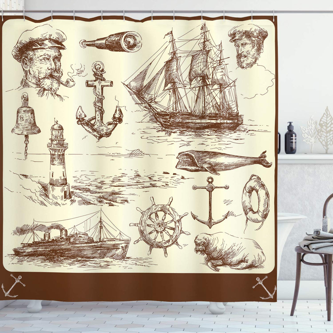 Ambesonne Marine Navy Captains Decor Collection, Ocean Retro Drawing Effect Framed Design, Polyester Fabric Bathroom Shower Curtain Set with Hooks, Brown Cream