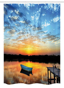 Ambesonne Nautical Stall Shower Curtain, Little Fishing Boat on Pond Tranquil Sunrise Water Reflection Picture, Fabric Bathroom Decor Set with Hooks, 54 W x 78 L Inches, Sky Blue Yellow Black