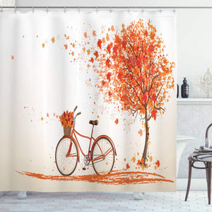Ambesonne Bicycle Decor Collection, Autumn Tree with Aged Old Bike and Fall Tree November Day Fall Season Park Nature Home Decor, Polyester Fabric Bathroom Shower Curtain Set with Hooks, Orange
