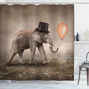 "Ambesonne Elephant Shower Curtain, Illusionist Elephant with Black Hat Magic Balloon Dreamy Surreal Art, Cloth Fabric Bathroom Decor Set with Hooks, 70"" Long, Taupe Salmon"