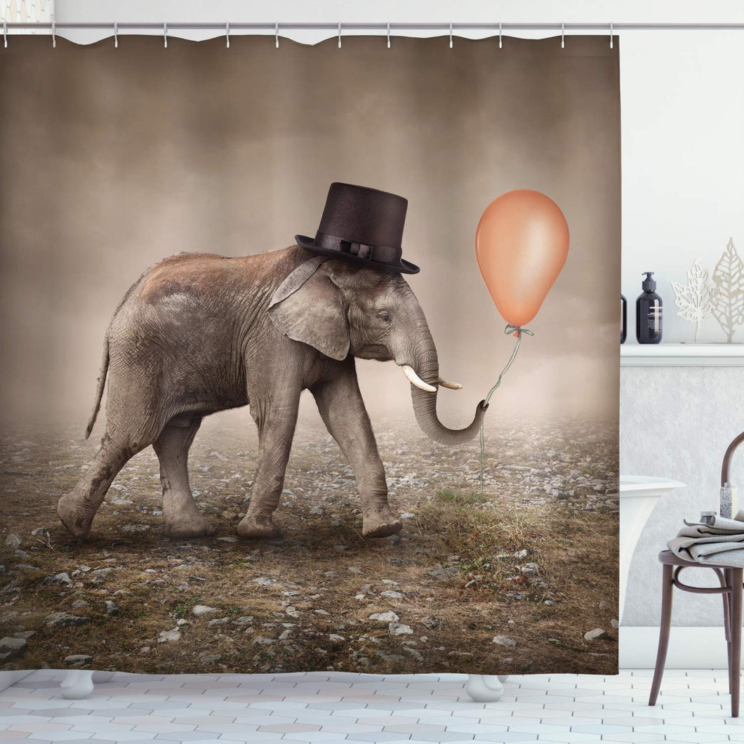 Ambesonne Elephant Shower Curtain, Illusionist Elephant with Black Hat Magic Balloon Dreamy Surreal Art, Cloth Fabric Bathroom Decor Set with Hooks, 70