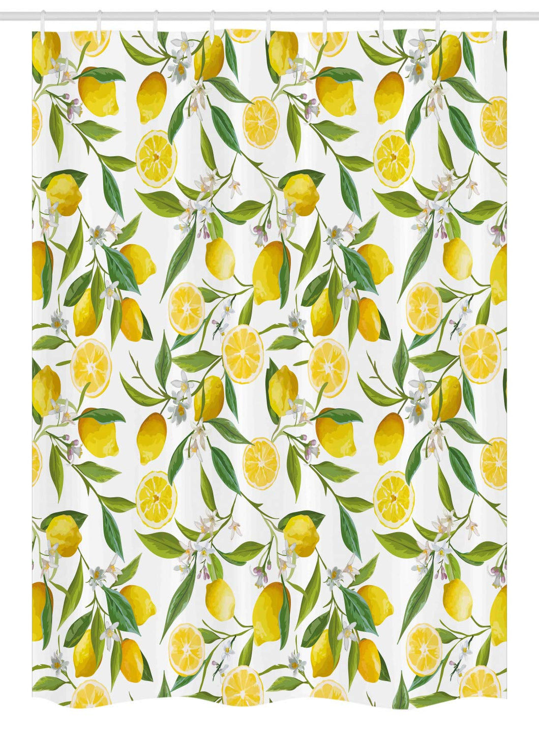 Ambesonne Nature Stall Shower Curtain, Exotic Lemon Tree Branches Yummy Delicious Kitchen Gardening Design, Fabric Bathroom Decor Set with Hooks, 54