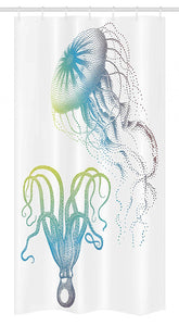Ambesonne Octopus Stall Shower Curtain, Octopus and Jellyfish Illustration Nautical Themed Art Underwater Wildlife Marine, Fabric Bathroom Decor Set with Hooks, 36 W x 72 L Inches, Blue White