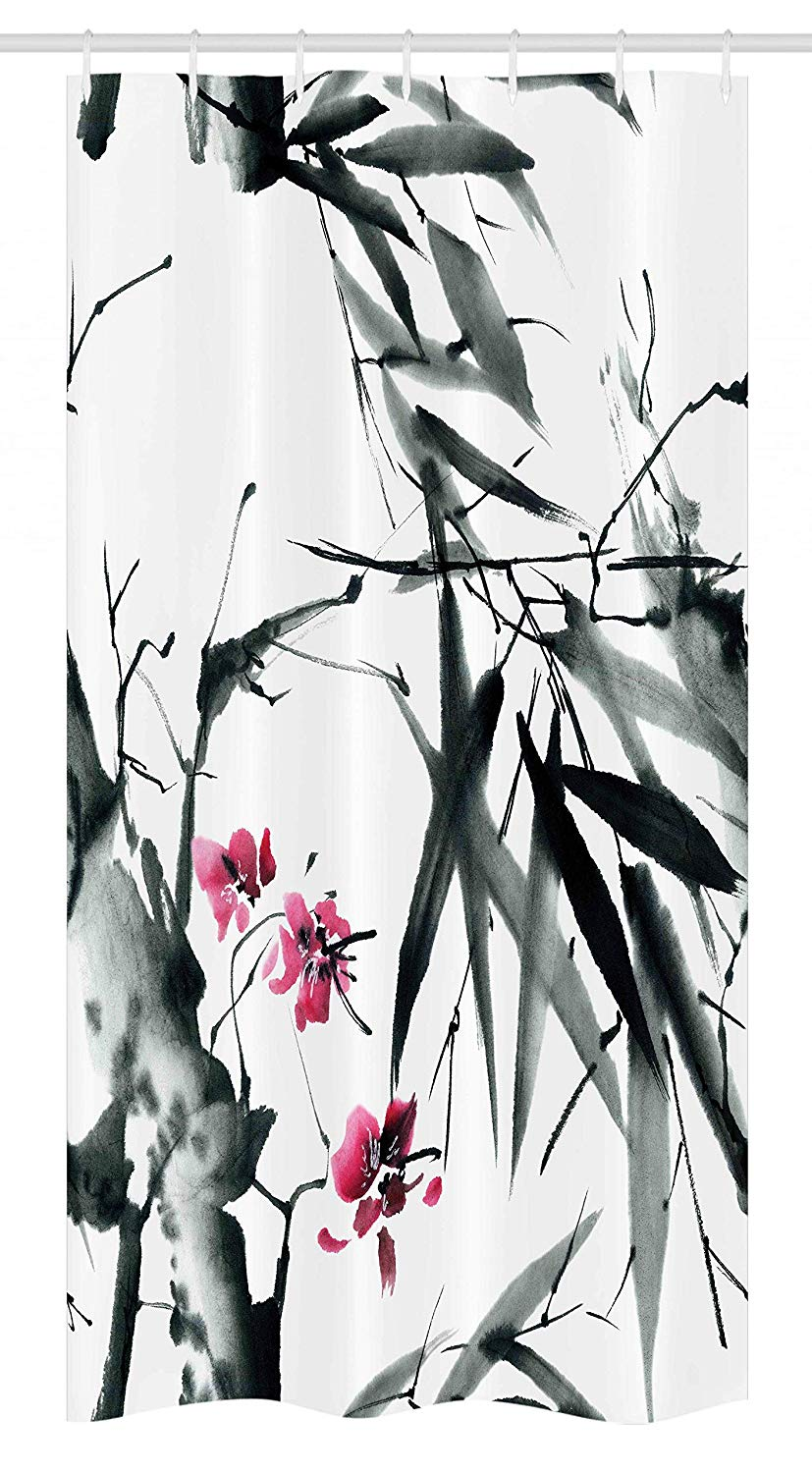 Ambesonne Japanese Stall Shower Curtain, Natural Bamboo Stems Cherry Blossom Japanese Inspired Folk Print, Fabric Bathroom Decor Set with Hooks, 36