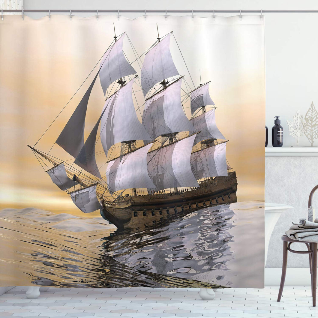 Ambesonne Landscape Art Decor Collection, Sailing Old Merchant Ship on Ocean Sailboats Cloudy Sky Over Sea Adventure Picture, Polyester Fabric Bathroom Shower Curtain Set with Hooks, Gray/Cream/Brown