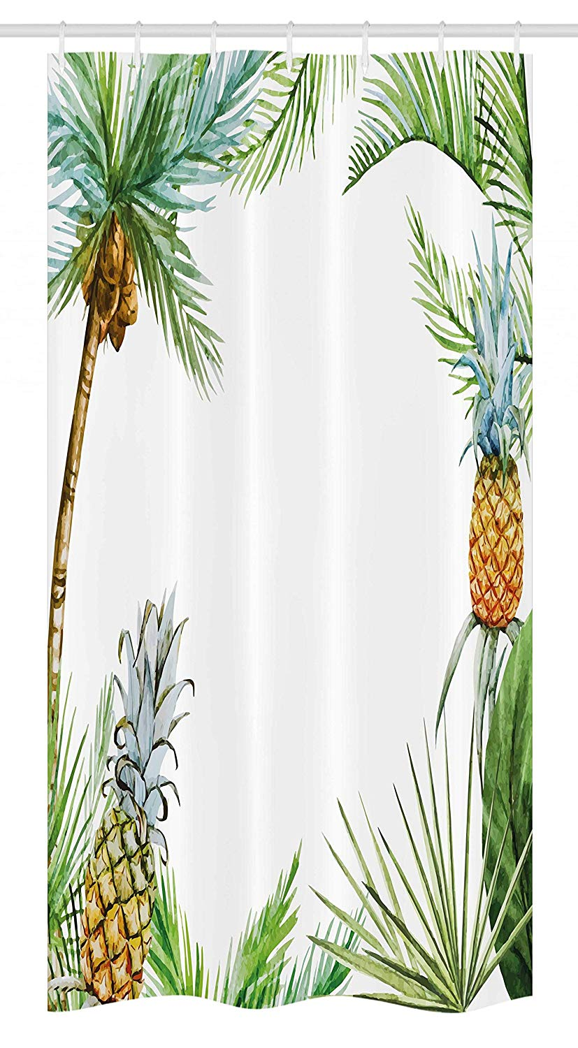 Ambesonne Pineapple Stall Shower Curtain, Watercolor Tropical Island Style Border Print Exotic Fruit Palm Trees and Leaves, Fabric Bathroom Decor Set with Hooks, 36