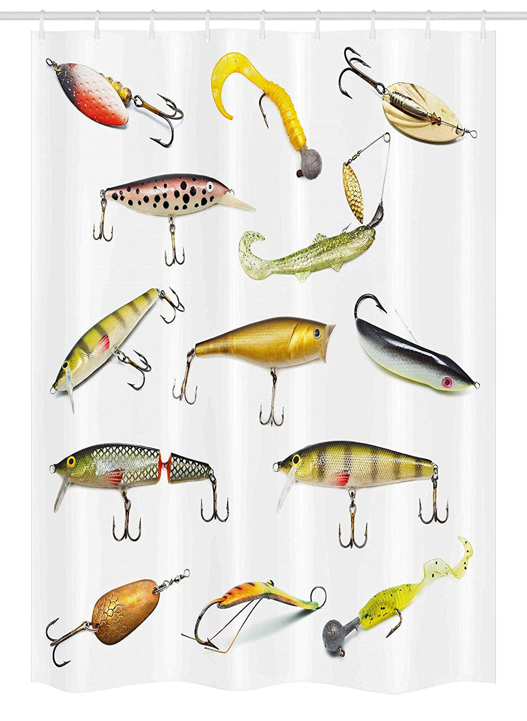 Ambesonne Fishing Decor Stall Shower Curtain, Fishing Tackle Bait for Spearing Trapping Catching Aquatic Animals Molluscs Design, Fabric Bathroom Decor Set with Hooks, 54 W x 78 L Inches, Multi