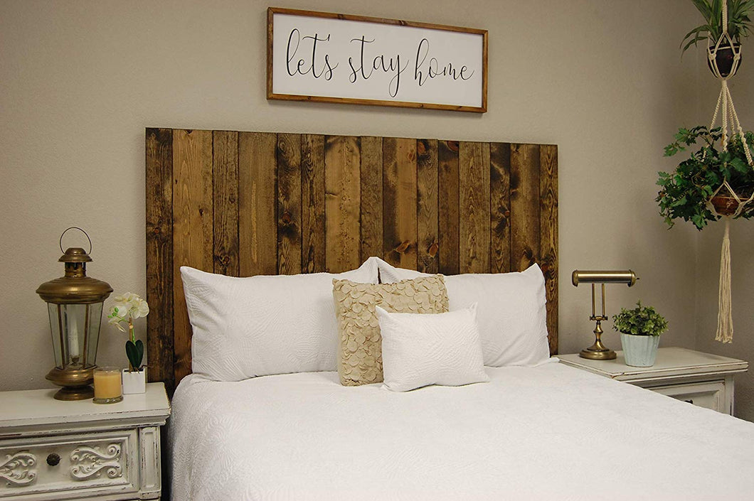 Dark Walnut Headboard California King Size Stain, Hanger Style, Handcrafted. Mounts on Wall. Easy Installation