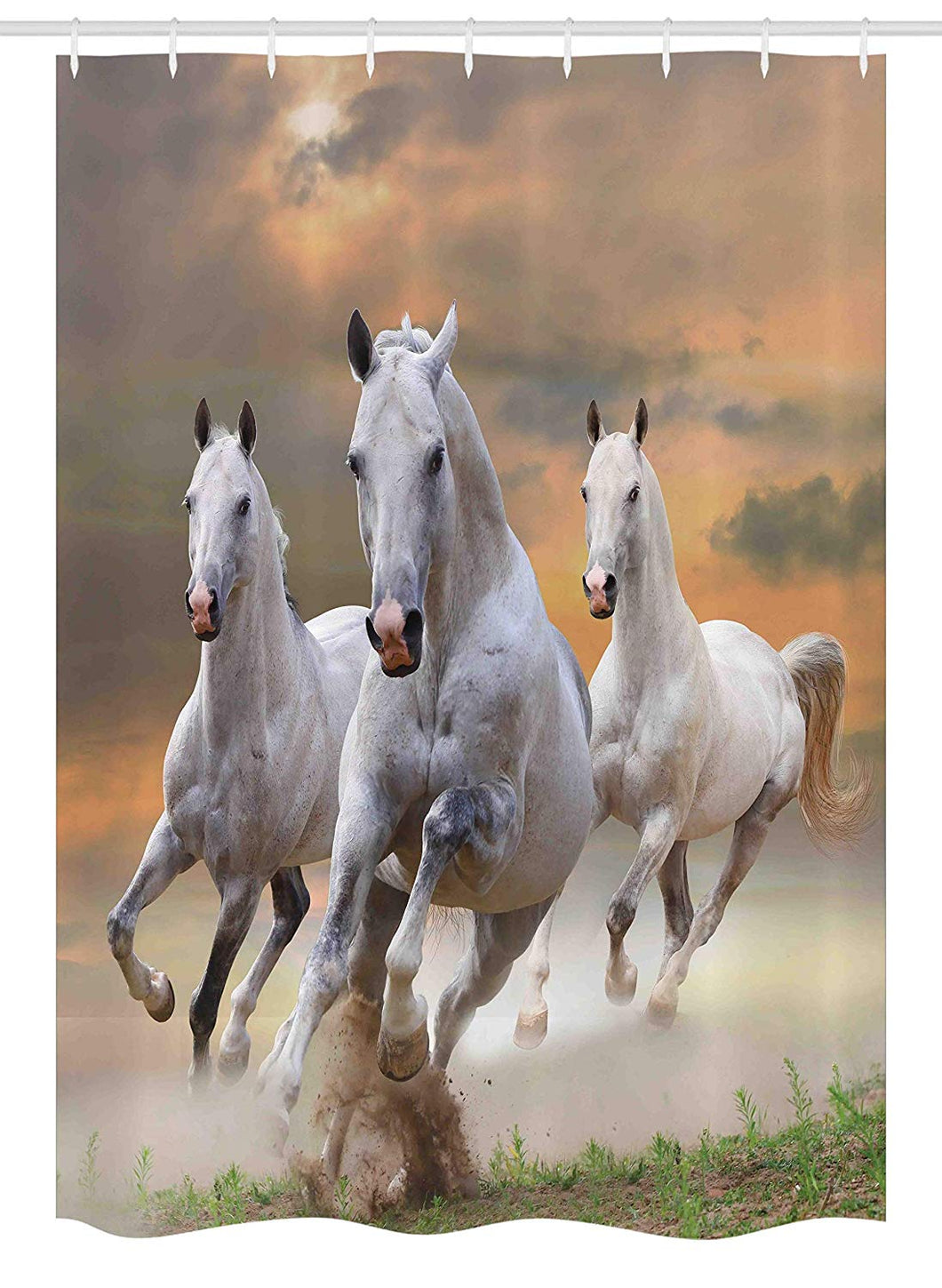 Ambesonne Horses Stall Shower Curtain, Stallion Horses Running on a Mystic Sky Background Equestrian Male Champions Print, Fabric Bathroom Decor Set with Hooks, 54 W x 78 L Inches, White Orange