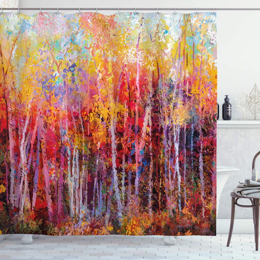 Ambesonne Nature Shower Curtain, Vibrant Nature Painting with Trees in The Autumn Forest Impressionistic Artwork, Cloth Fabric Bathroom Decor Set with Hooks, 70