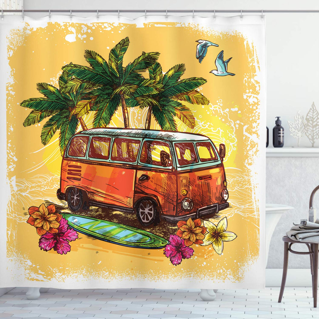Ambesonne Surf Shower Curtain, Hippie Classic Old Bus with Surfboard Freedom Holiday Exotic Life Sketchy Art, Cloth Fabric Bathroom Decor Set with Hooks, 84