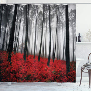 "Ambesonne Forest Shower Curtain, Mystical Fantasy Woodland Under Heavy Fog Tall Trees Bushes Contrast Colors, Cloth Fabric Bathroom Decor Set with Hooks, 70"" Long, Red Gray"